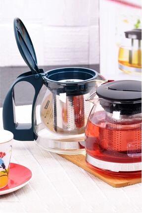 YAKUT Süzgeçli Cam Demlik 700 Ml Çay Kahve Bitki Çayı Demliği Siyah
