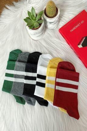 Ledi Unisex Yeşil Çizgili Kolej Tenis Çorap 6'lı Set