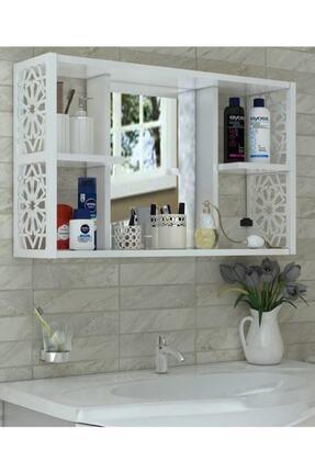 Tedarikcenter Modern Aynalı Raflı Çok Amaçlı 5 Bölmeli Lavabo Üstü Banyo Dolabı - Beyaz
