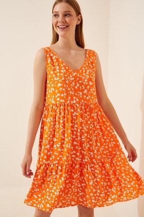 Happiness İst. Kadın Oranj Çiçekli Ön Arka V Yaka Viskon Elbise DD00926