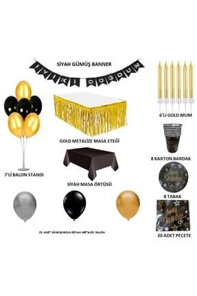 ÖFN Aksesuar Siyah Gold Gümüş Doğum Günü Seti