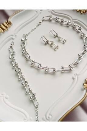 FASHİON JEWELRY Kadın Gümüş Tiffany Kolye Bileklik Küpe Set
