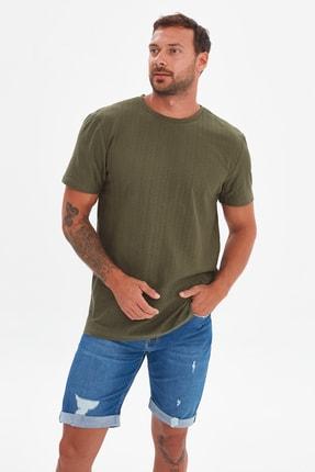 TRENDYOL MAN Haki Erkek Regular Fit Bisiklet Yaka Kısa Kollu T-Shirt TMNSS21TS3578