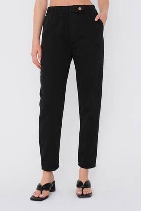Addax Kadın Siyah Düğme Detaylı Pantolon Pn4191 - Pni ADX-0000021486