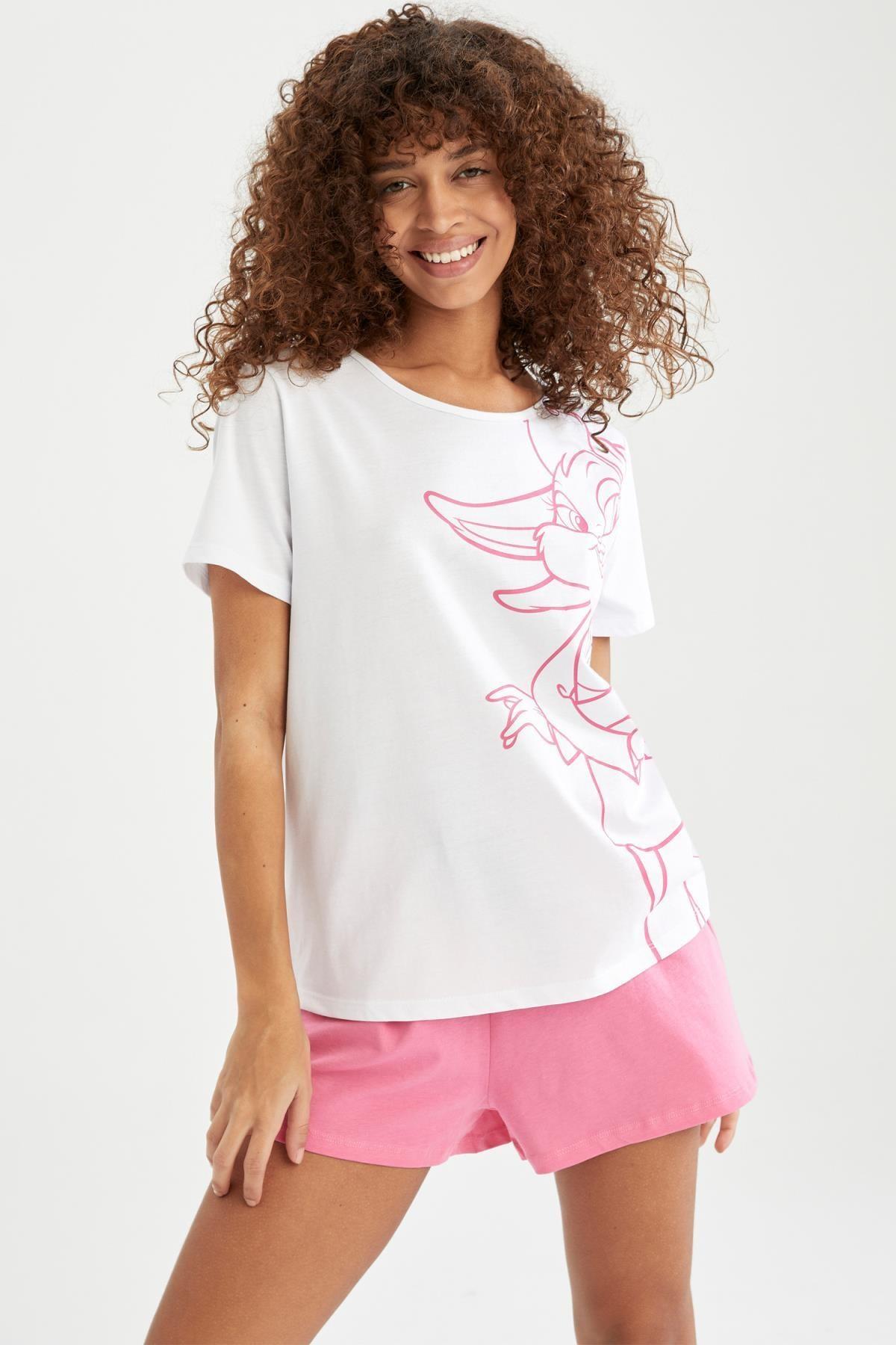DeFacto Kadın Pembe Lola Bunny Lisanslı Kısa Kollu Pijama Takımı U7686AZ21SM