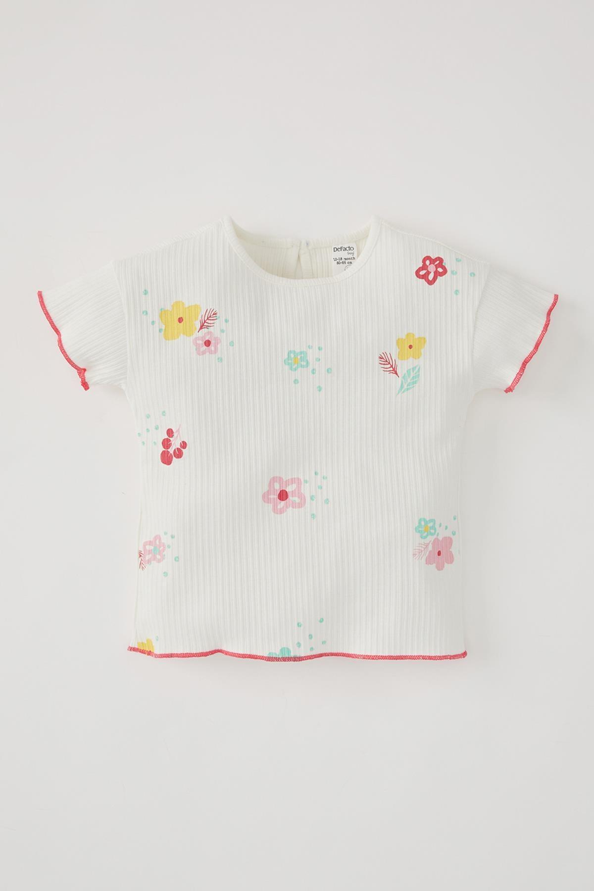 DeFacto Kız Bebek Çiçek Desenli Fitilli Kısa Kollu Tişört V0230A221SM