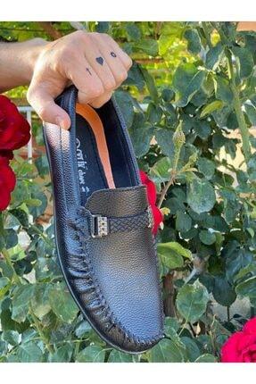 BrownBlack Erkek Siyah Cilt Ortapedik Babet Ayakkabı