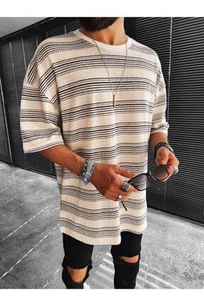 ablukaonline Erkek Ekru Siyah Oversize Kırçıllı T-shirt