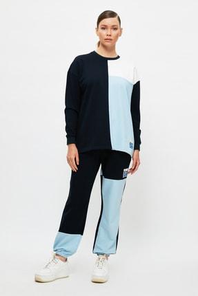 Trendyol Modest Mavi Renk Bloklu Eşofman Takımı TCTSS21EM0102