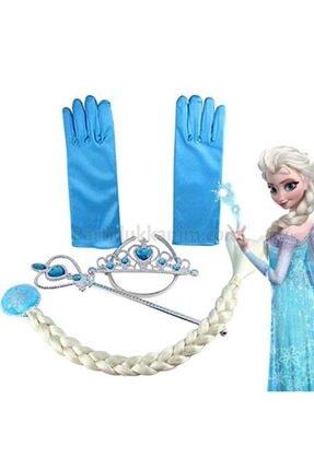 Frozen Elsa Örgü Saç Taç Asa ve Eldiven Set