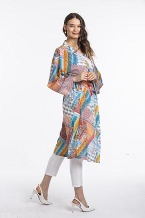 Pitti Turkuaz Desenli Kimono 60350