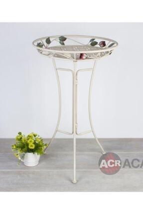ACAR Ferforje Metal Beyaz Güllü Yan Bahçe Balkon Sehpası 8765