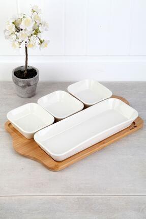 ACAR Bambu Standlı Porselen Lüx 4 Bölmeli Servis