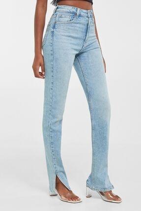 Bershka Kadın Mavi Yırtmaçlı Paça Yüksek Bel Skinny Fit Jean