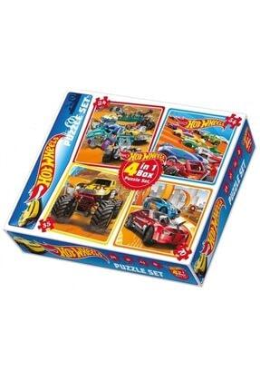 HOT WHEELS Puzzle Set 4 Ü Aynı Kutuda 24 - 35 - 54 - 70 Parçalı Lisanslı