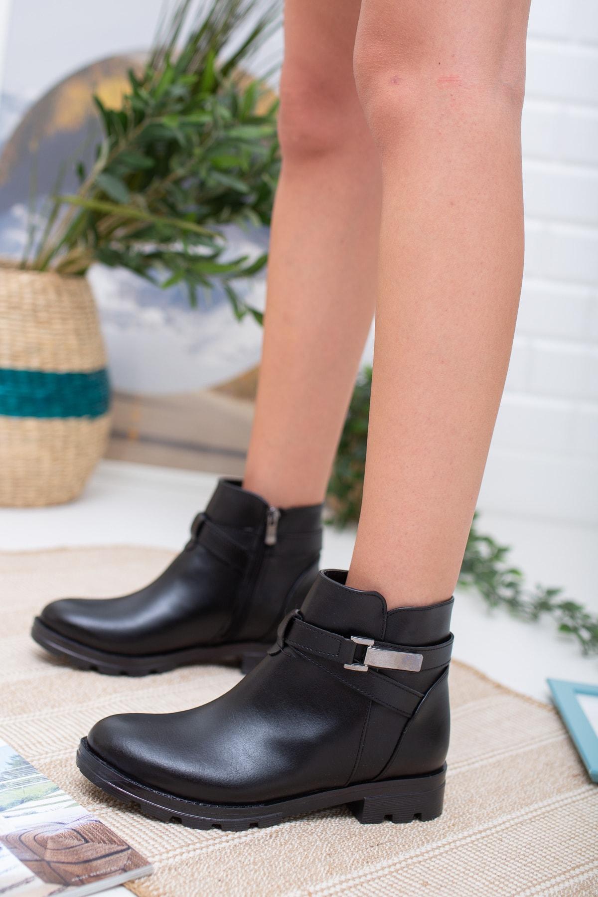 meyra'nın ayakkabıları Siyah Cilt Tokatlı Bot 1