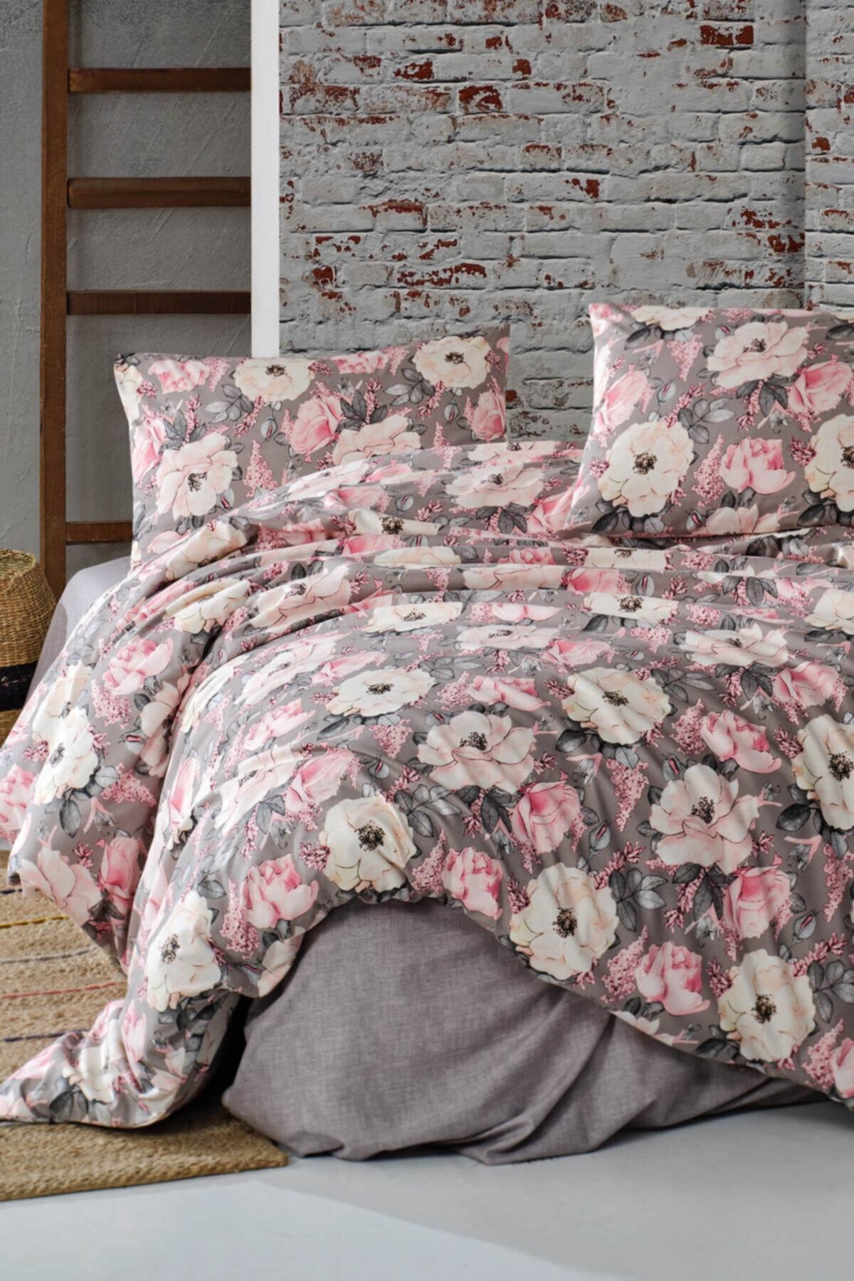 Cotton Touch Floral Gri Ranforce Çift Kişilik Nevresim Takımı 1
