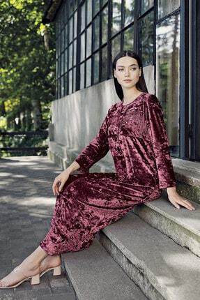 Artış Kadın Mercan Kadife Ev Elbisesi 9111