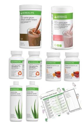 Herbalife 2'li Eko Set Çikolata+ahududu Shake + 2 Şeftali Çay + 2 Thermo + 2 Aloe Vera Diyet Listesi Hediyeli