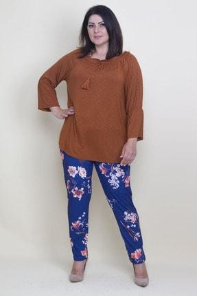 Şans Kadın Tarçın Yaka Ve Kolları Lastik Detaylı Viskon Bluz 65N17800