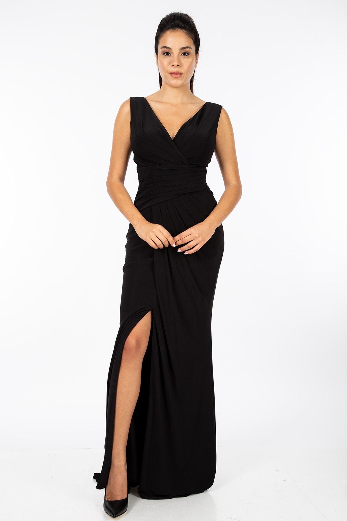 Elbisemhazır Kadın Likralı Kruvaze Model Elbise 1