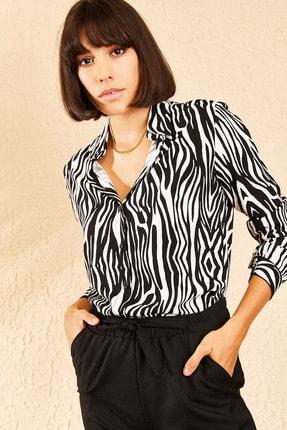 Bianco Lucci Kadın Siyah Zebra Desenli Viskon Gömlek 10111029