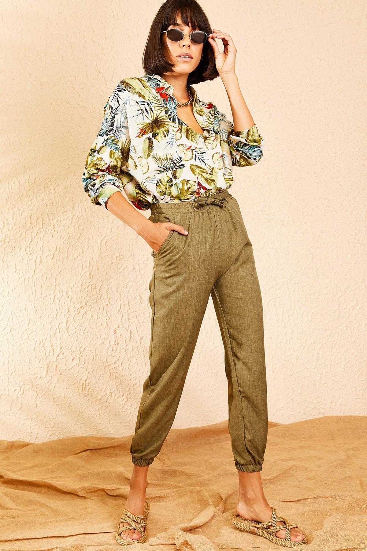 Bianco Lucci Kadın Haki Beli ve Paçası Lastikli Mevsimlik Rahat Pantolon 10111026 2