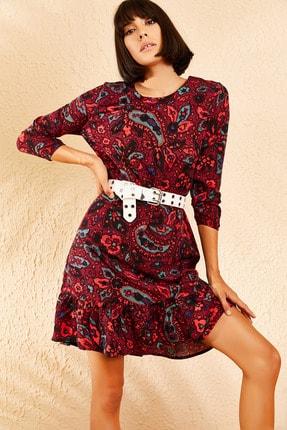 Bianco Lucci Kadın Kırmızı Etnik Desen Eteği Pileli Kolu Lastikli Sırt Dekolteli Elbise 10111031