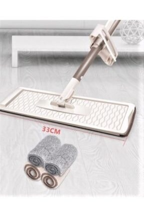 YELPAZE Kendinden Sıkma Mekanizmalı Kovasız Flat Mop +1 Adet Yedek Paspas