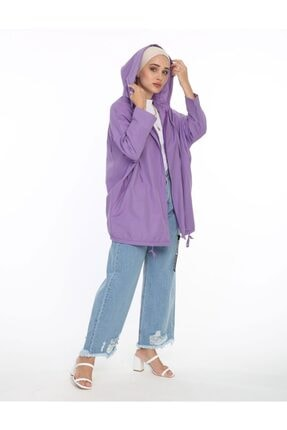 SİNDAL Kadın Lila Kapüşonlu Ceket 36-61900