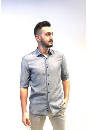Fabrika Erkek Gri Desenli Uzun Kollu Gömlek
