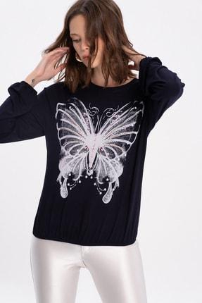 FLAMENCO Kadın Lacivert Kelebek Baskılı Bluz