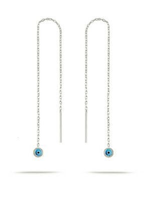 Trend Silver Gümüş Rodyumlu Nazar Boncuklu Mavi Mineli Zincir Küpe