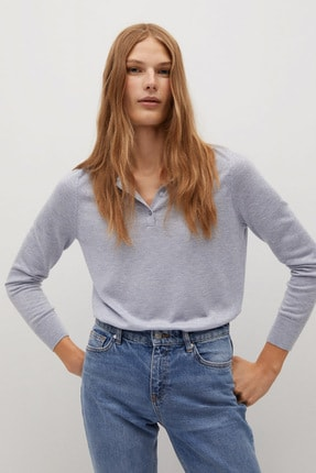 MANGO Woman Kadın Gök Mavisi İnce Dokuma Polo Tişört 77005923
