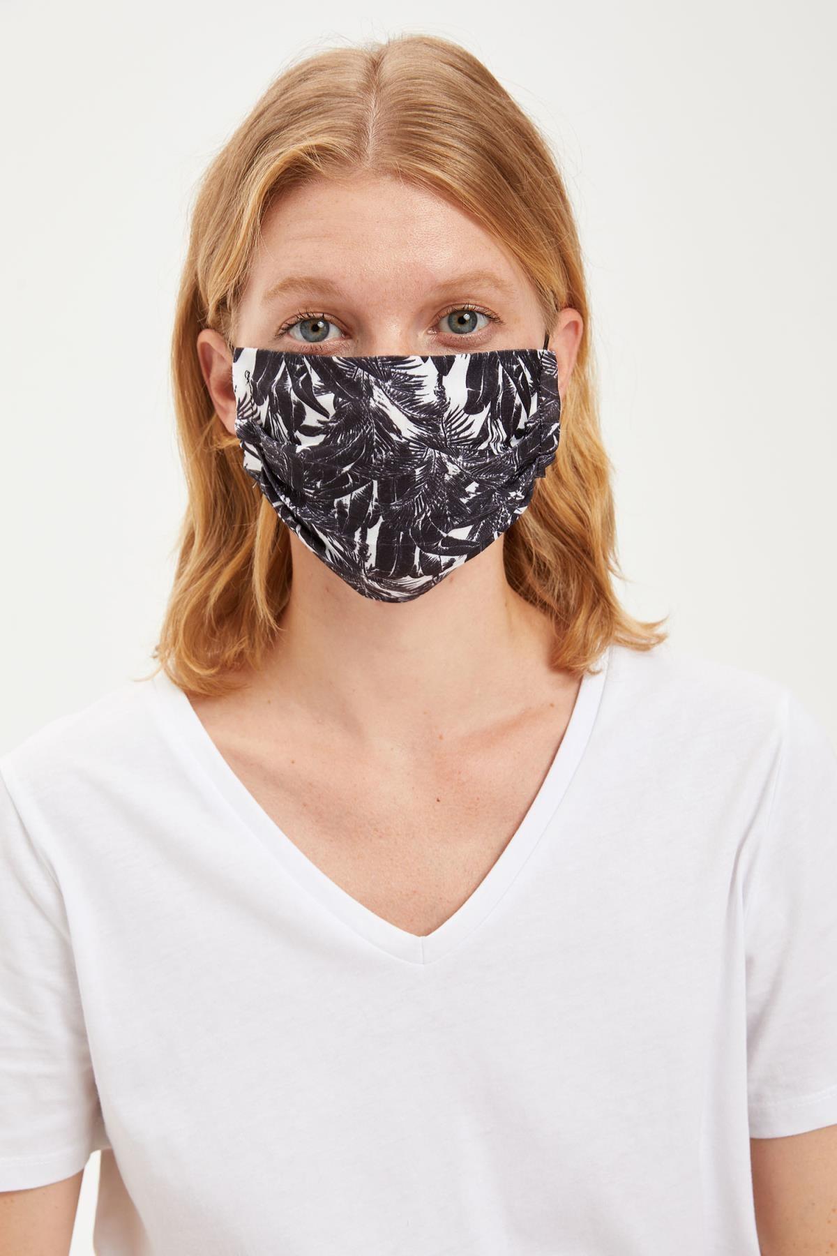 DeFacto Erkek Yaprak Baskılı Yıkanabilir Maske