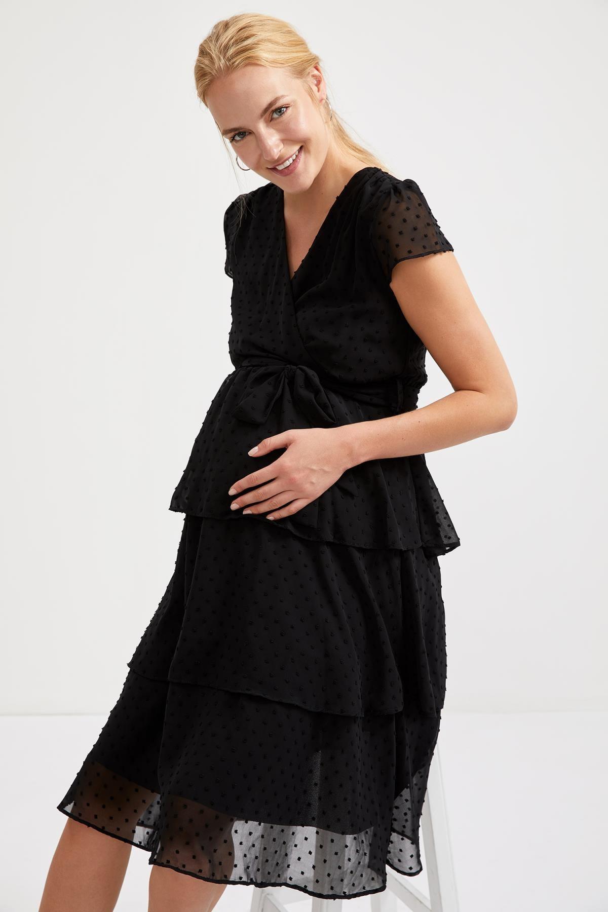 DeFacto Kadın Black Puanyiyeli Kuşaklı Hamile Elbise S9483AZ20HS