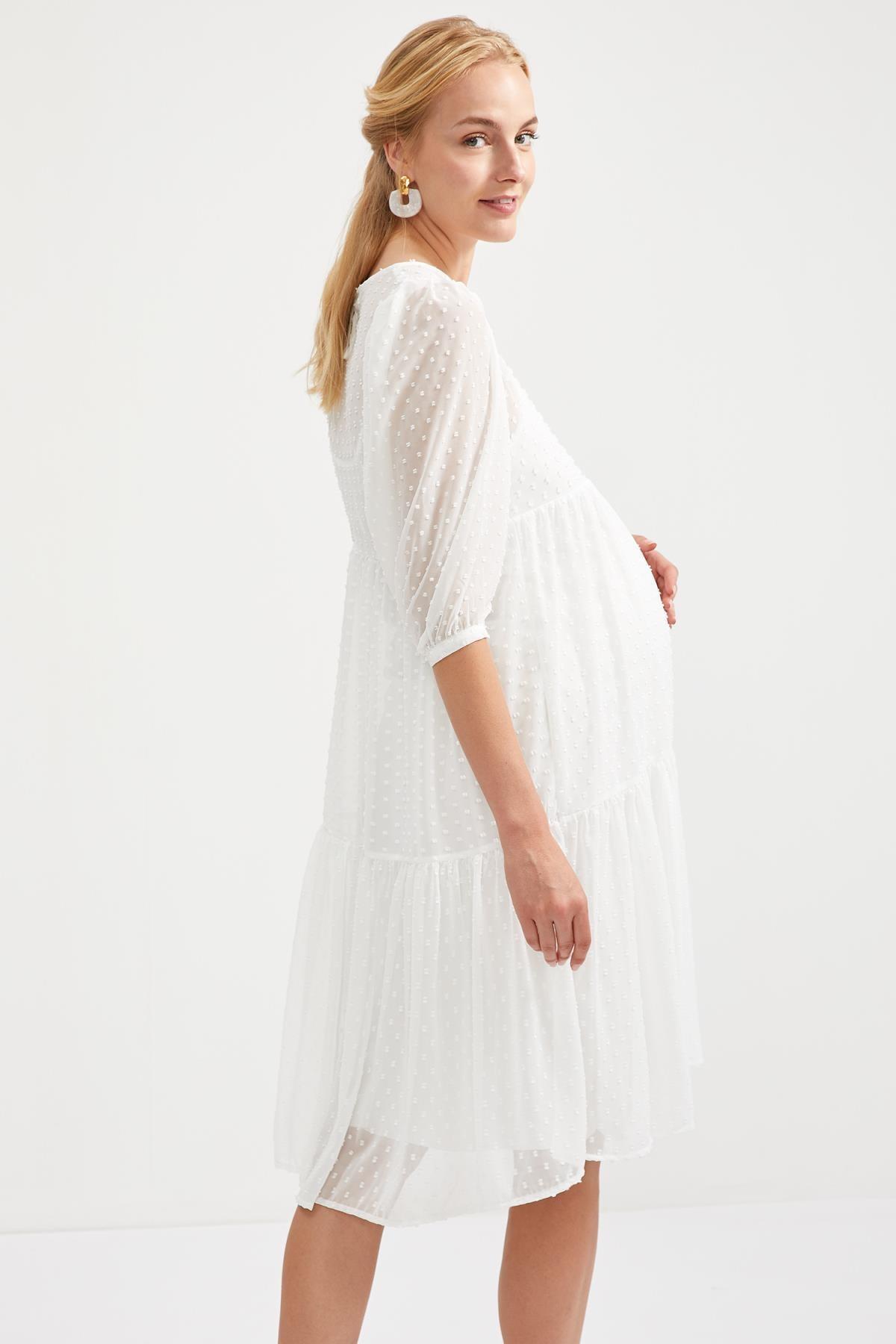 DeFacto Kadın Whıte Hamile Volan Detaylı Uzun Elbise S9484AZ20HS