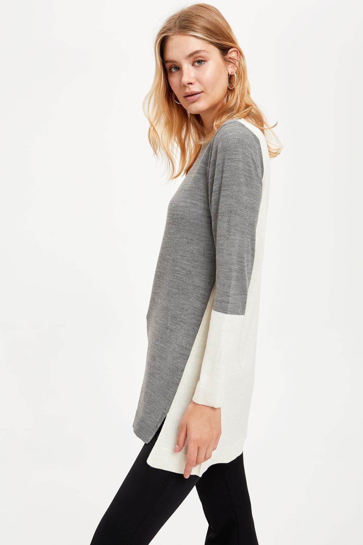 DeFacto Kadın Grey Renk Bloklu Triko Tunik R3716AZ20AU
