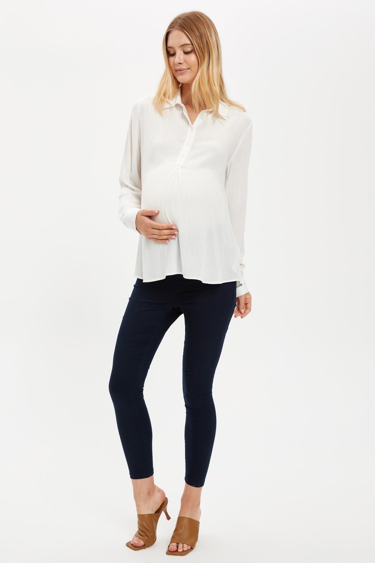 DeFacto Kadın Ecru-133-13 Yarım Düğmeli Relax Fit Gömlek S1708AZ20AU