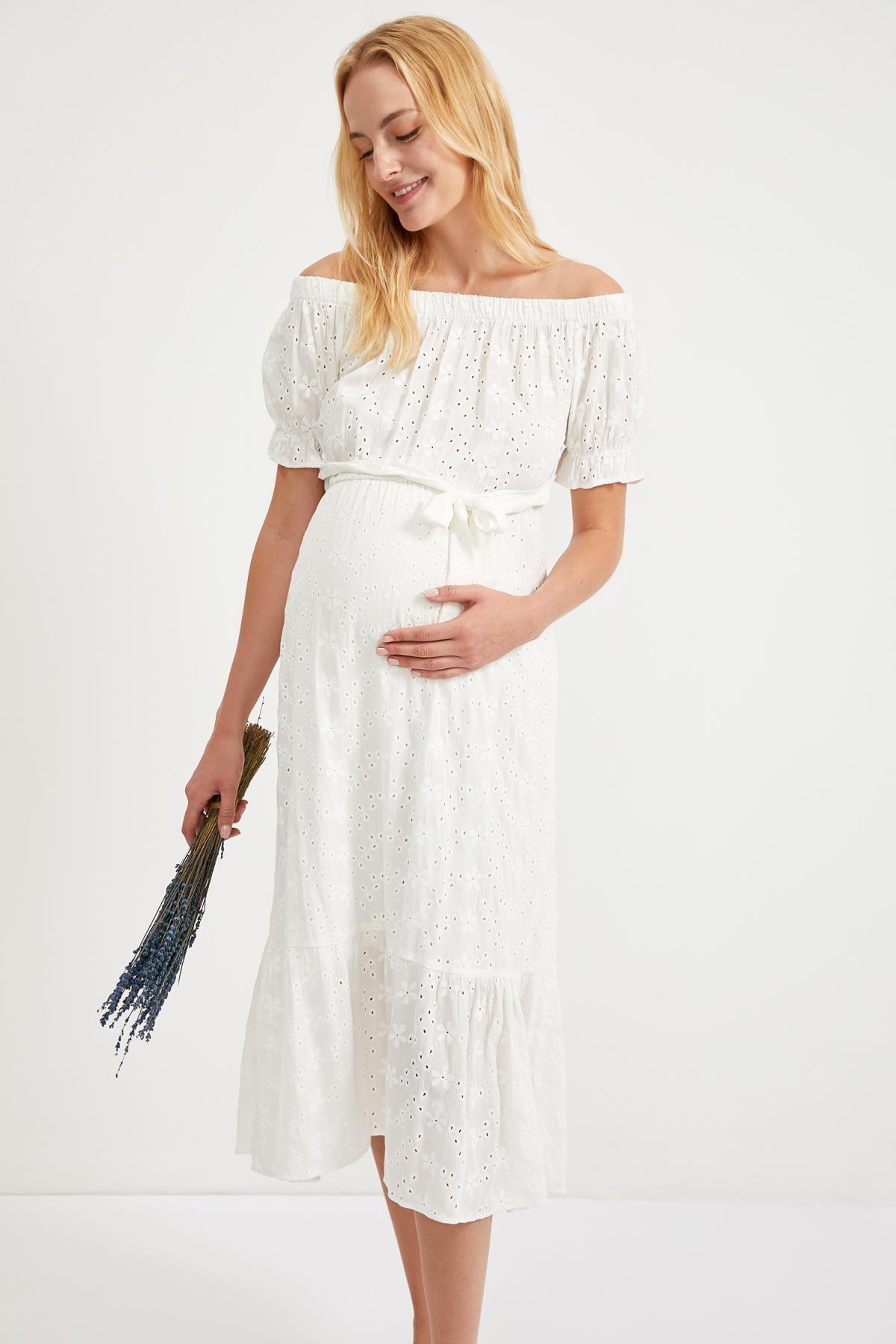 DeFacto Kadın Whıte Hamile Büzgülü Yaka Kuşaklı Midi Elbise S9273AZ20HS