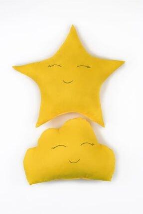Odeon Sarı Yıldız Ve Bulut Figürlü Çocuk Odası Dekoratif Yastık