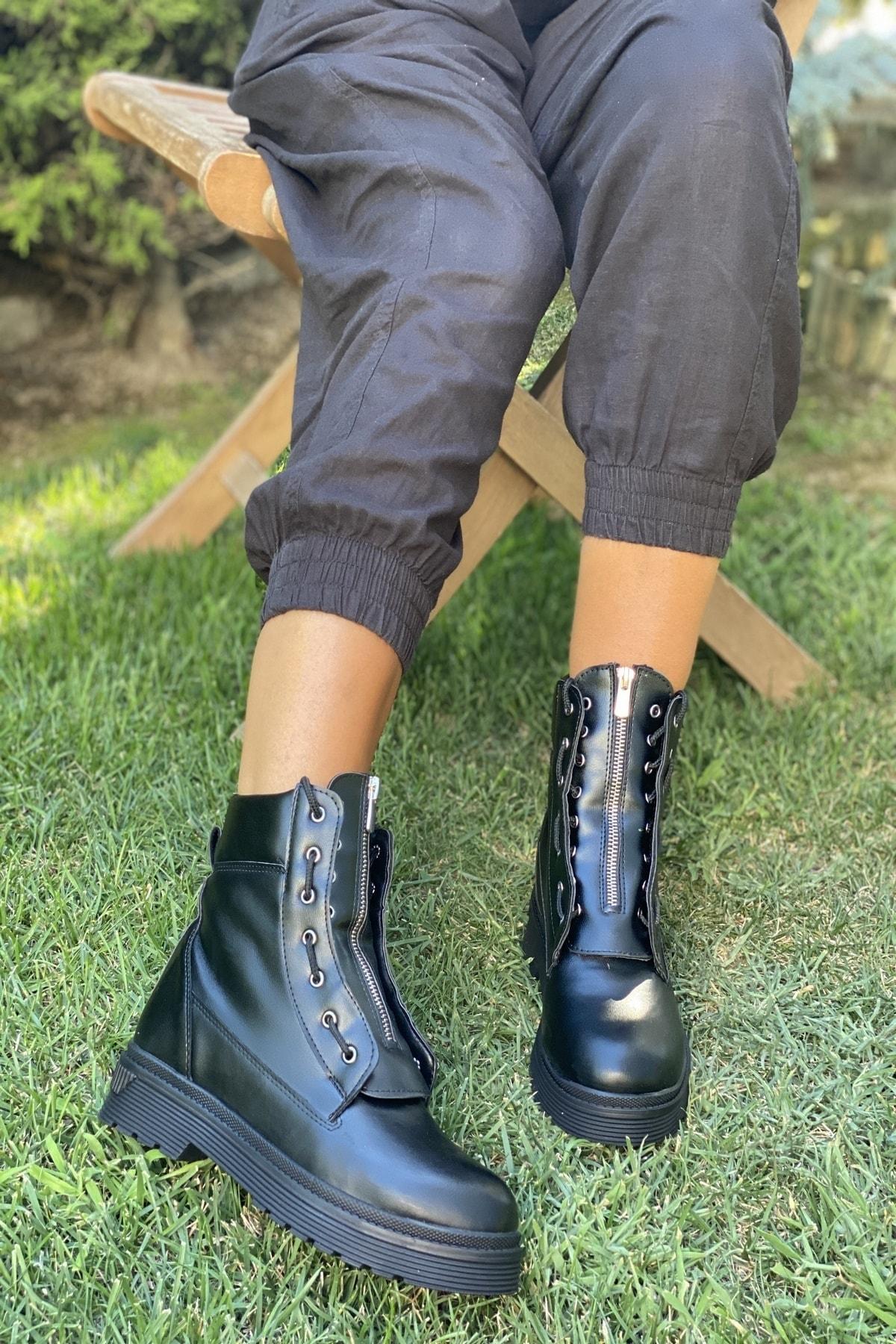 İnan Ayakkabı Bayan Ortadan Fermuarlı Kenardan Bağcıklı Bot 2