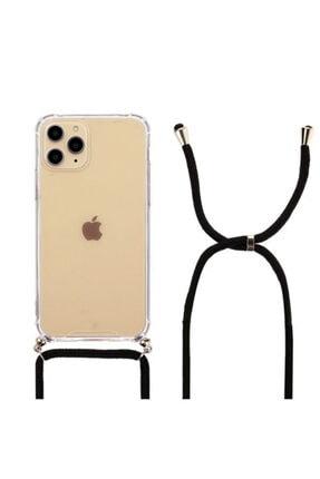 Molly Iphone 11 Pro Max Siyah Ipli Boyun Askılı Silikon Kılıf