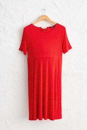 LC Waikiki Kadın Kırmızı Baskılı Ltq Elbise 0WBN19Z8