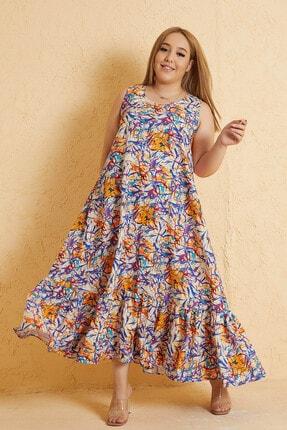 Mio Secret Büyük Beden Kadın Renkli Desen Kolsuz Etek Ucu Büzgülü Maxi Elbise