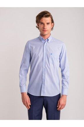 Dufy Mavi Kareli Pamuklu Büyük Beden Erkek Gömlek - Battal