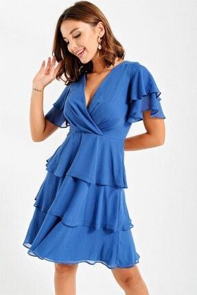 By Saygı Kadın Mavi Kruvaze Kat Kat Şifon Abiye Elbise