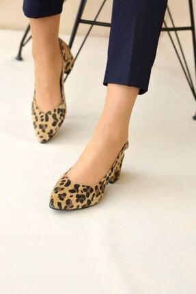 LDÇ Kadın Leopar Topuklu Ayakkabı