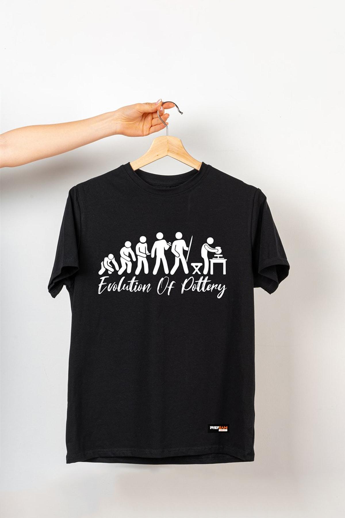 Ref-San Unisex Siyah Tasarım T-shirt - Evolution Of Pottery 1