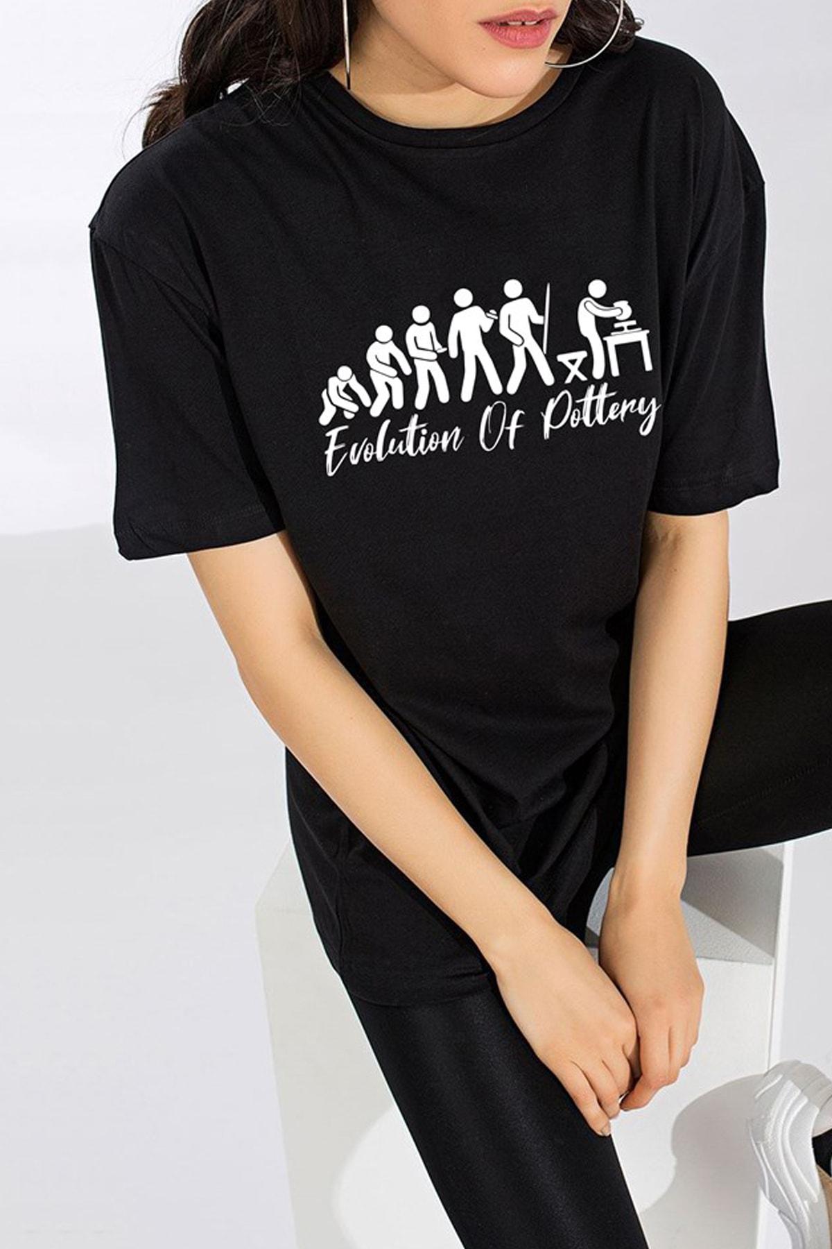Ref-San Unisex Siyah Tasarım T-shirt - Evolution Of Pottery 2